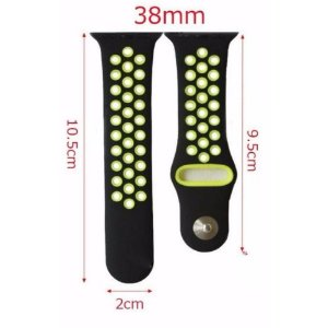 Pulseira Silicone Esportiva Para Apple Watch 38mm - Preto/amarelo