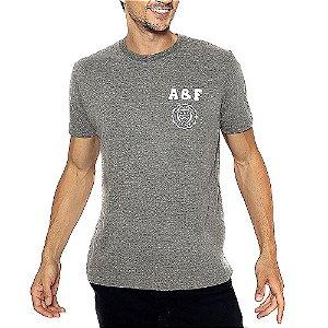 Camiseta Abercrombie Chumbo Estampada com Manga Curta