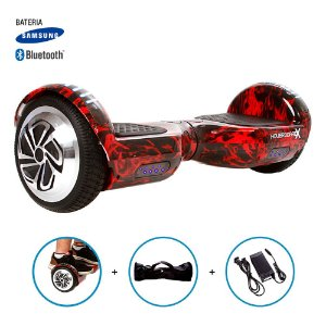 "Hoverboard 6,5"" Red Fire  HoverboardX USA Bateria Samsung Bluetooth Smart Balance Com Bolsa"