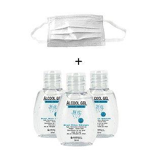 Kit 3 Álcool Gel Etílico Hidratado Higenizador De Mãos 70 INPM ArtGel 30 ml Com 1 Máscara Descartável Para Proteção