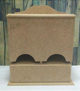 Caixa porta chá com gaveta | MDF | Dimensões: 25 x 22 x 11