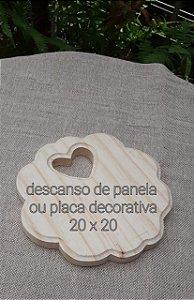 Placa Recorte Coração Pinus