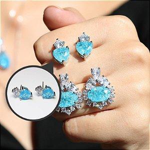 Brinco Coração com Cristal Azul Craquelado Folheado a Ródio