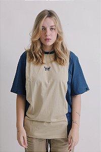 Camiseta OWL Sport Stripe - Azul e Bege