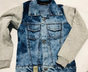 Jaqueta jeans mangas de moletom