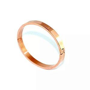Bracelete de Aço Largo com Ouro Rosê - 01538