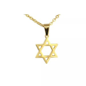 Colar de Aço com Ouro Estrela de Davi - 04788