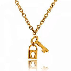 Colar de Aço com Ouro Chave e Cadeado - 04794