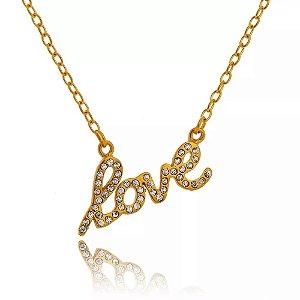 Colar de Aço com Ouro Love com Cristais - 04781