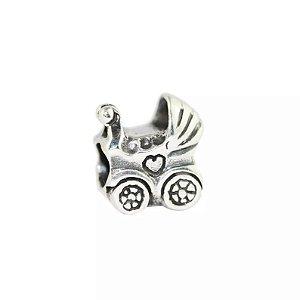 Berloque Carrinho de Bebê em Prata 925