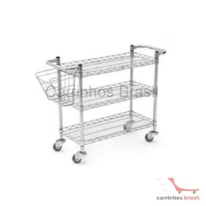 Carro bandeja cromado + cesta revista