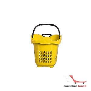 Cesta plástica com rodas 1200 B Amarela