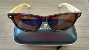 Óculos Kingseven Haste de madeira - original lentes polarizadas