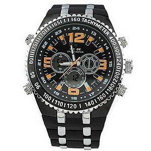Relógio Masculino Anadigi Casual Weide WH-1107 Preto e Laranja