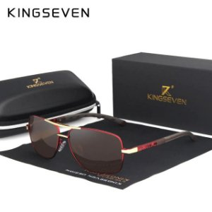 Óculos de Sol Masculino original Kingseven 2019 liga de alumínio lentes retangulares polarizadas UV 400 - N724