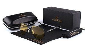 Óculos visão noturna original Kingseven® 709 a - lentes polarizadas - antirreflexo armação preta