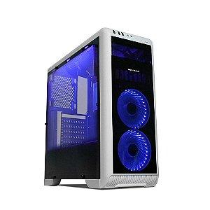 Gabinete Gamer Mymax Tornado – Branco/Preto LED Azul