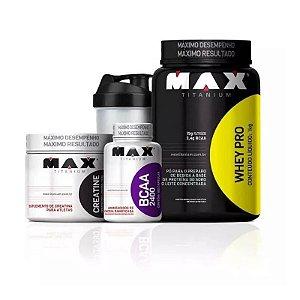 Kit Max Titanium Whey Pro + Creatina + Bcaa + Coqueteleira
