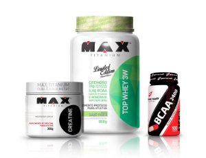 Combo Top Whey 3W 900g Max Titanium + Creatina 300g Max + Bcaa 100 Cáps Body action