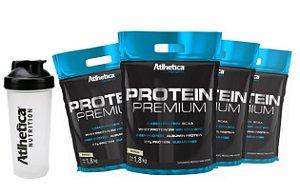 Kit 4 Whey Protein Premium Atlhetica 1,8kg + Coqueteleira