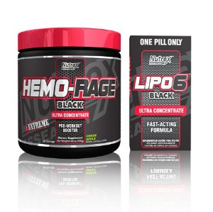 Kit Nutrex - Hemo-Rage Black Green Apple + Lipo 6 Black Ultra Concentrado