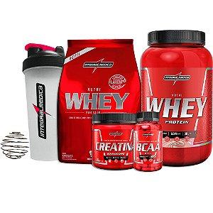 Kit Nutri Whey 907g + Refil +  Bcaa 90 Caps - Integralmedica