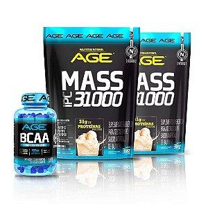 kit Age 2x Mass IPC 3100 Baunilha 3kg + Bcaa Concentrado120 Caps