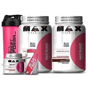 Kit Emagrecimento Max/ Body - 2x Max Shake 400g + Bcaa Pro- F + Colagen