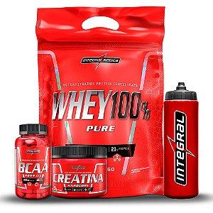 Kit Definição IntegralMedica - Whey 100% Pure 1,8kg + Bcaa 2044mg 90 capsulas + Squeeze