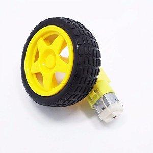 Roda + Pneu + Motor Dc 3 A 6v Com Redução Robotica Novo