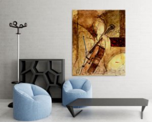 Quadro Decorativo Tela Old Cello 100 x 80 cm