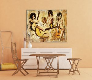 Quadro Decorativo Tela Four Guitars 80 x 100 cm