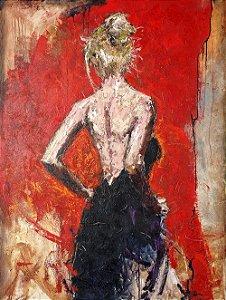 Arte Contemporânea Tela Blue Dress 80 x 60 cm