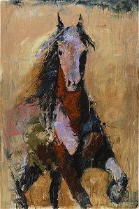 Arte Contemporânea Tela Golden Horse 80 x 60 cm