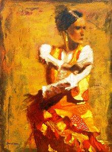 Arte Contemporânea Tela La Furia Flamenca 80 x 60 cm