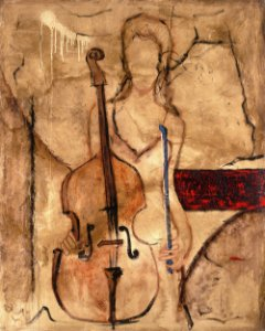 Arte Contemporânea Tela Principal Cello 80 x 60 cm