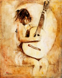 Arte Contemporânea Tela Soft Guitar 80 x 60 cm