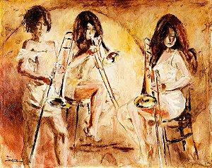 Arte Contemporânea Tela Trombone Trio 60 x 80 cm