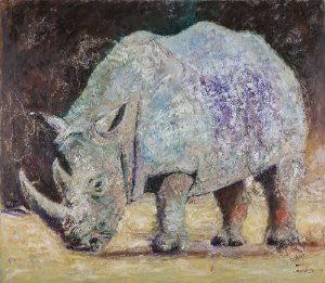 Quadro Decorativo Tela White Rhino 80 x 100 cm