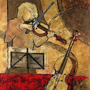 Gravura Coleção Música 30 x 30 cm Partitura