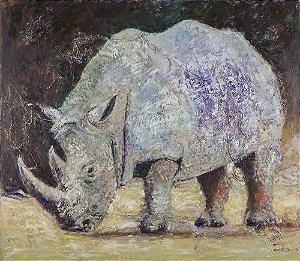 Obra de Arte Tela White Rhino 120 x 150 cm