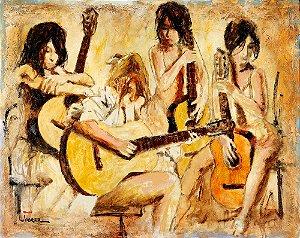 Quadro Tela Four Guitars 100 x 125 cm