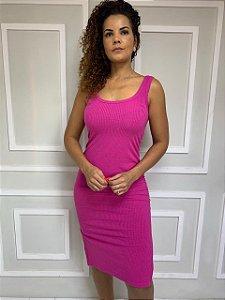 Vestido Midi Canelado Rosa