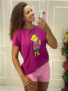 Camiseta Feminina Rosa Pink Simpsons