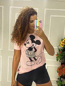Camiseta Feminina Rosa Mickey Tamanho Grande