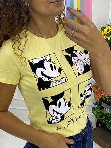 Camiseta Feminina Amarela Mickey e Minnie Carinhas