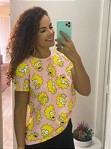 Camiseta Feminina Rosa Lisa Simpsons