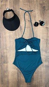 Maiô Verde com Amarração Plus Size