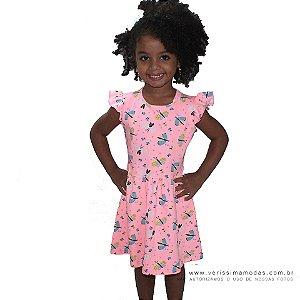 Vestido VIP Infantil Rosa com Estampa de Borboletas