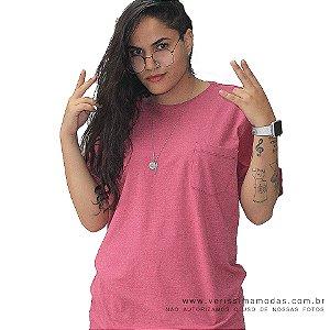 Camiseta Rosa com Bolso